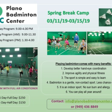 Spring Break Camp – March 11 – March 15 2019